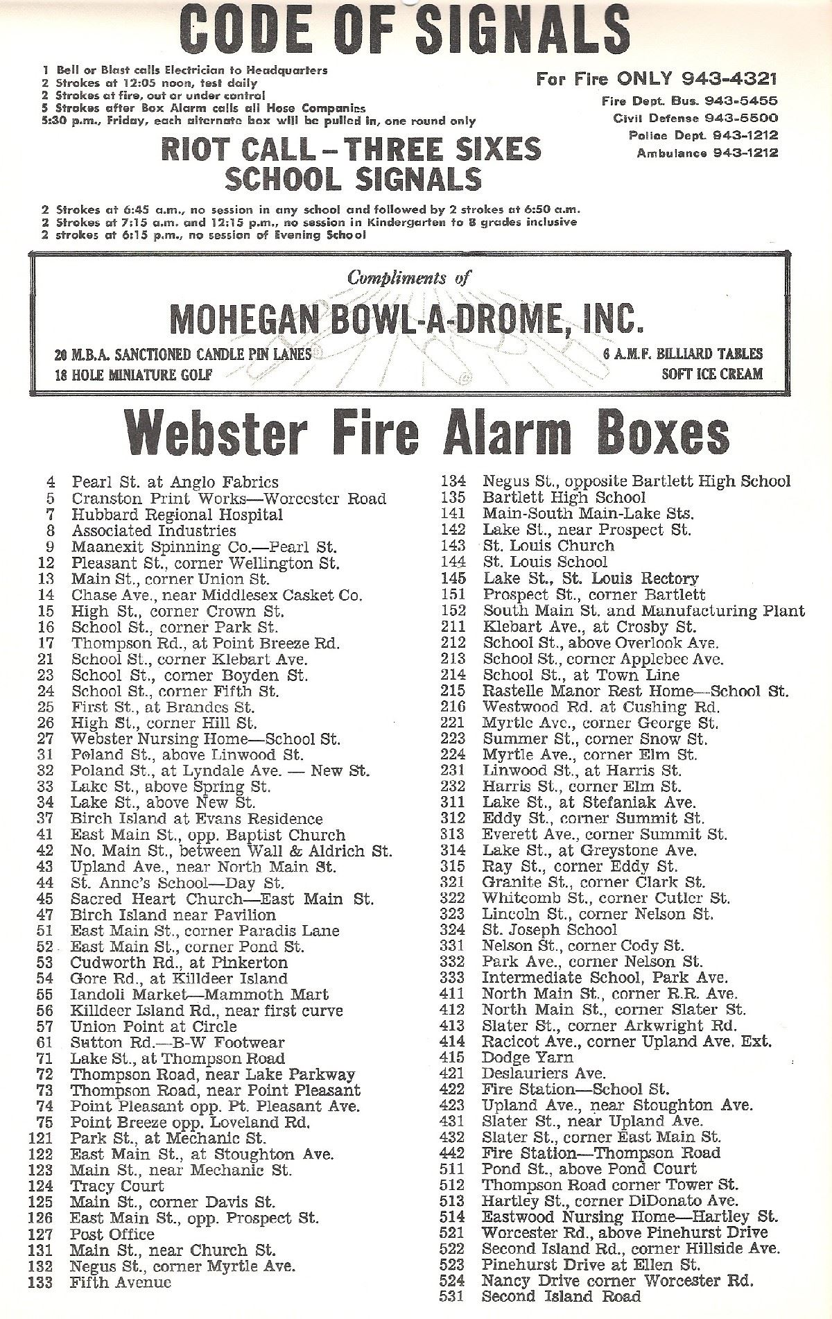 1972 Box Alarm List