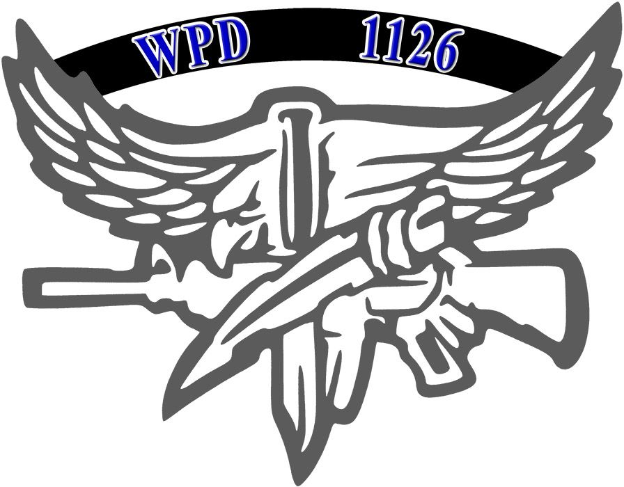 Graphic image of eagle holding a rifle with WPD 1126