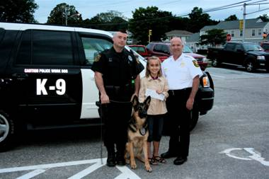 Officer Suss with K-9 Red Peyton Suprenant and Chief Timothy Bent