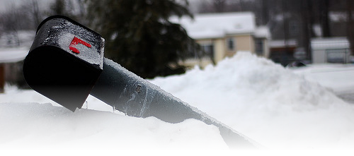 Broken Mailbox With Snow