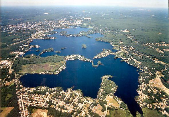 Aerial image of the lake and surrounding areas